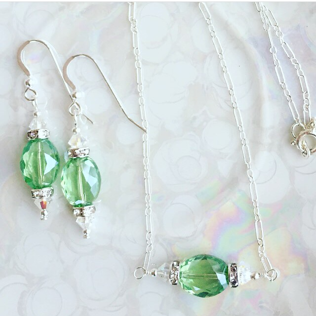 Greenery Swarovski Crystal Sterling Silver Jewelry Set