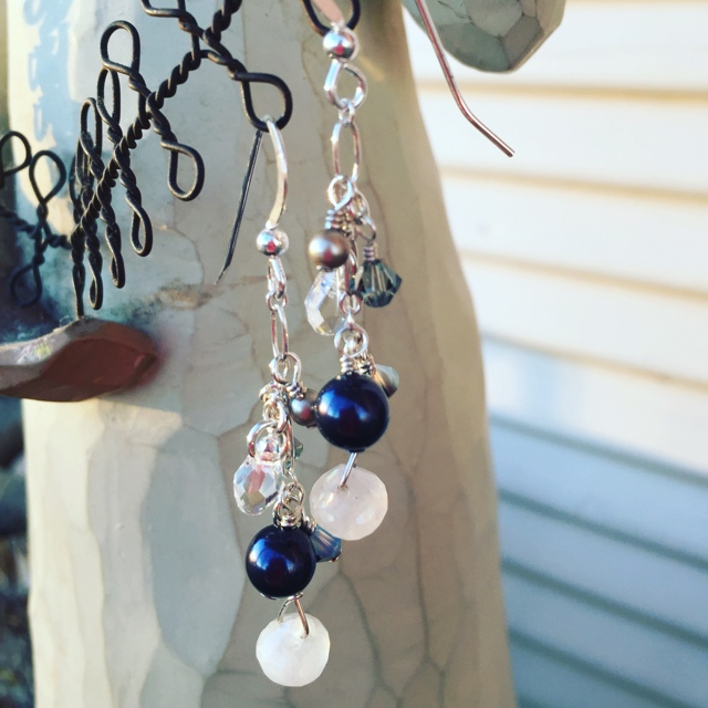 Moonlight moonstone gemstone Sterling silver dangle earrings