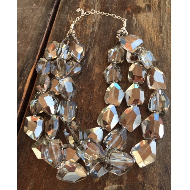 Smokey Czech Crystal Chunky Layered Statement Sterling Silver Necklace