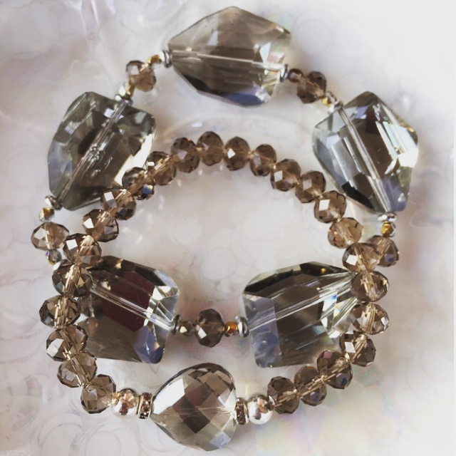 Smokey Gray Czech Crystal Stretchy Bracelet Stack