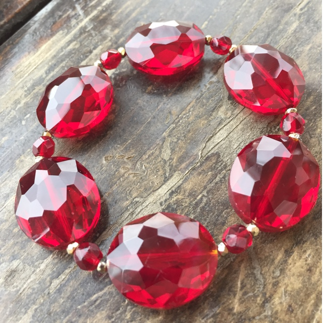 Crimson Red Crystal Chunky Stretchy Bracelet