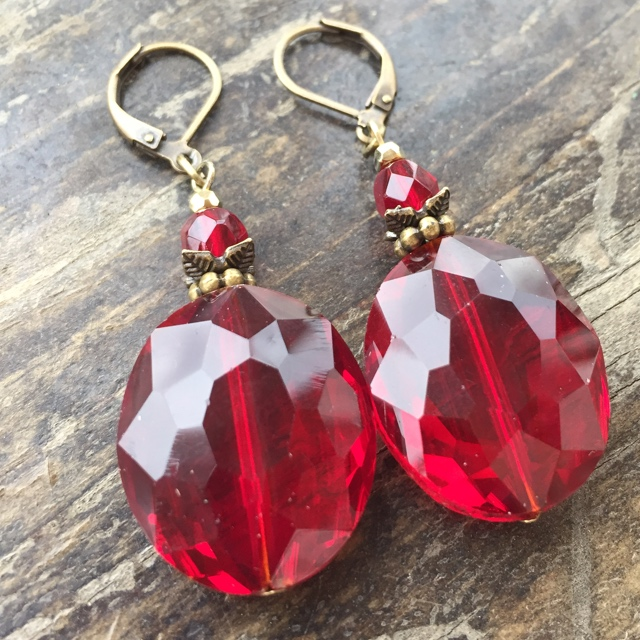 Crimson Red Crystal Antiqued Gold Statement Earrings
