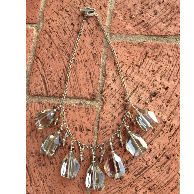Smokey Czech Crystal Nugget Statement Necklace