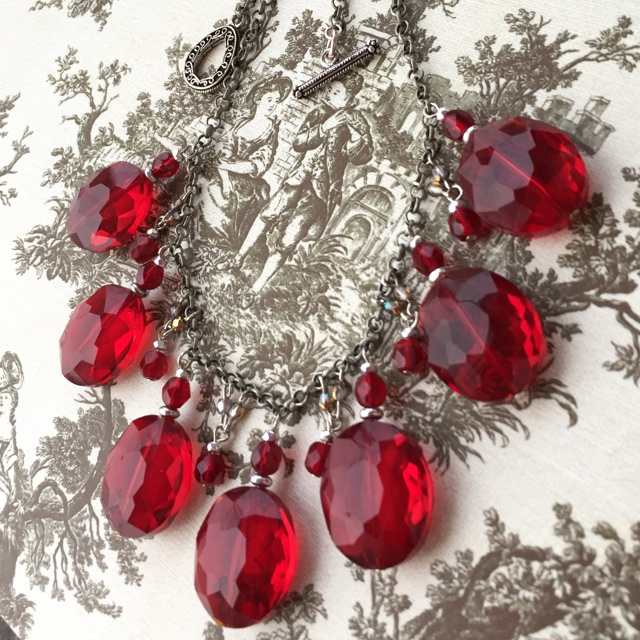 Show Me Some Love ~ Red Crystal Statement Necklace