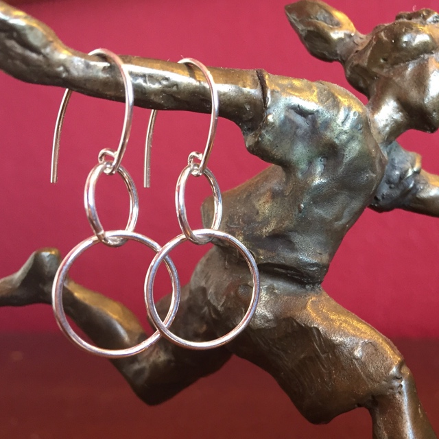 Forever ~ Sterling Silver Double Loop  Circle Earrings