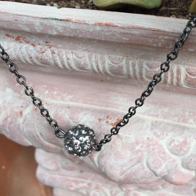 Black Pavé crystal disco simple Choker  necklace