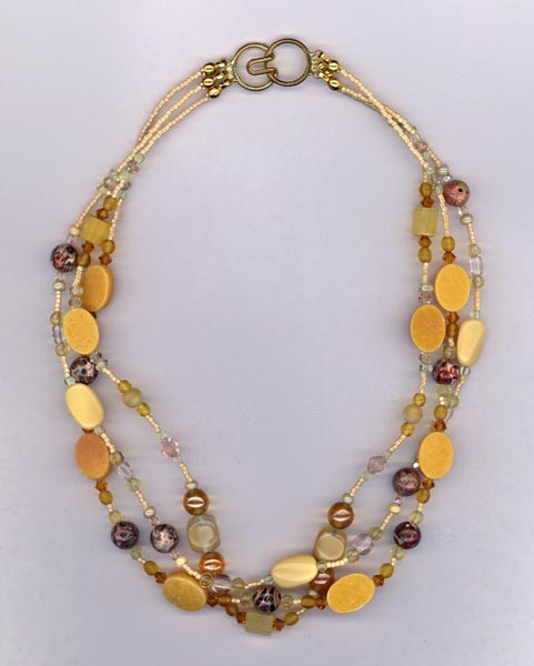 Amber Waves 3 strand Necklace