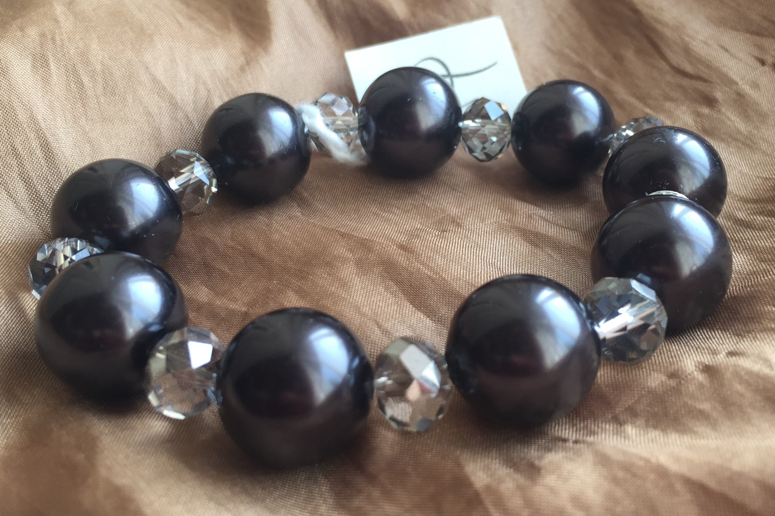 Chunky Large Black Pearl Crystal Stretch Bracelet