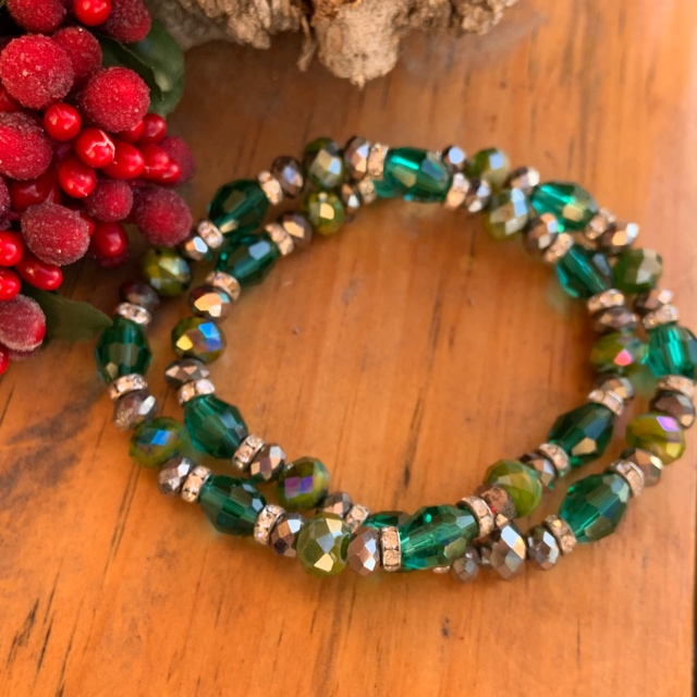 Emerald Fancy Crystal Holiday Stretch Bracelet
