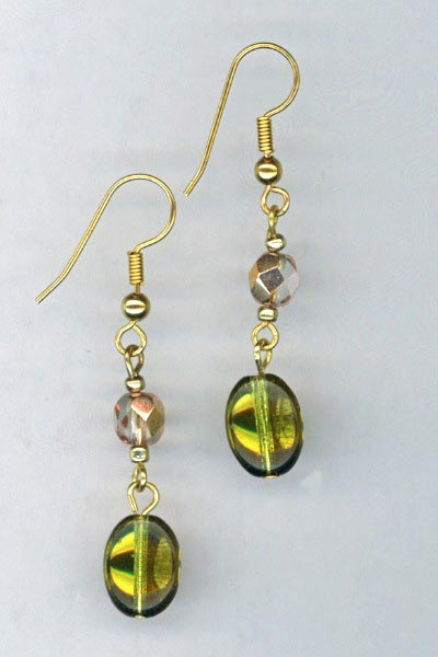 Copper Crystal Drop Earrings