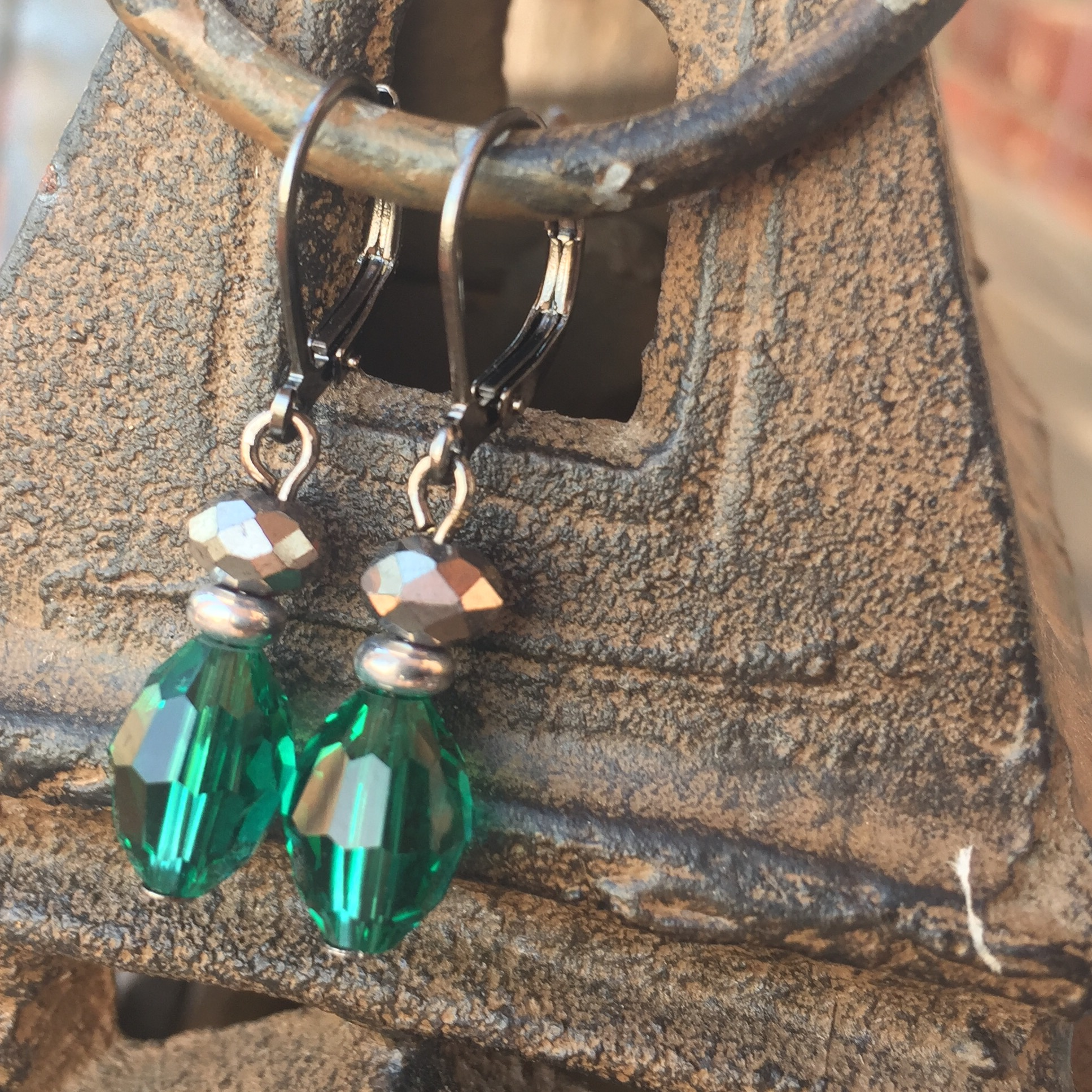 Green Emerald Crystal Black Silver Earrings