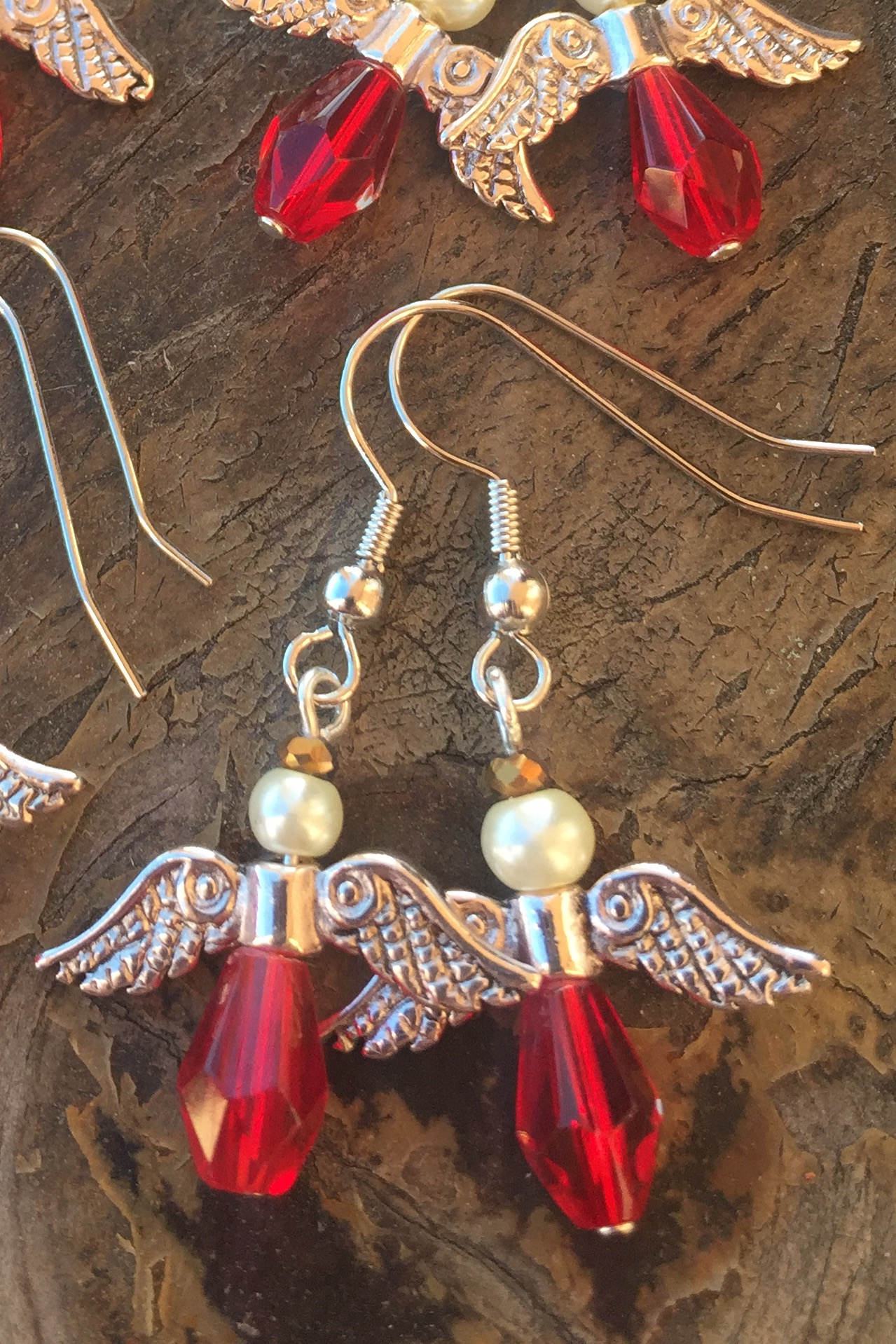 Red crystal small angel silver earrings