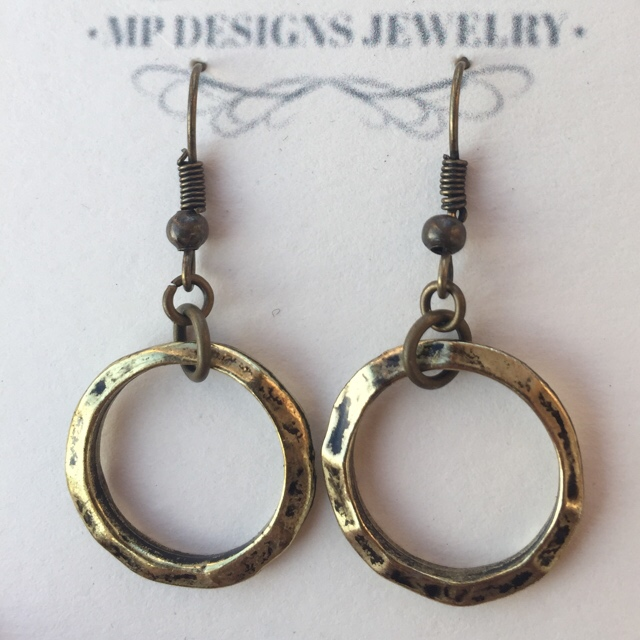 Everyday Hoop Earrings brass hammered  Antiqued G