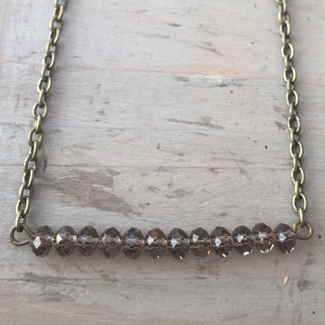 Antiqued Brass Gold Smokey  Taupe Crystal Bar Necklace