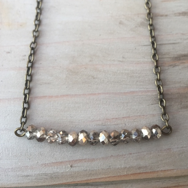 Golden Grey Crystal Brass Bar Necklace