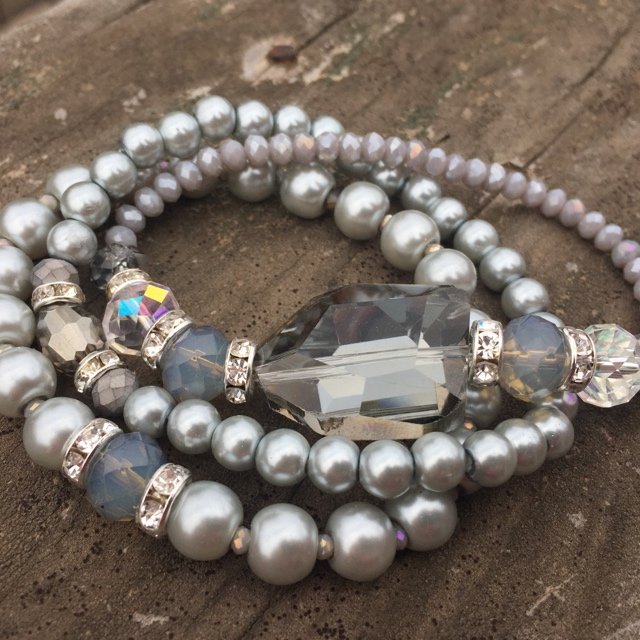 Starry Night Grey Pearl Silver Crystal Stretch Stacking Bracelet Set