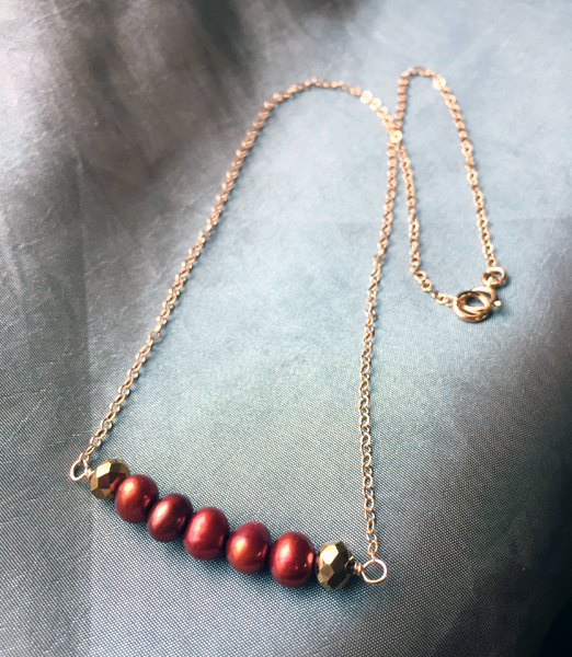 Garnet Pearl Gold Bar Necklace