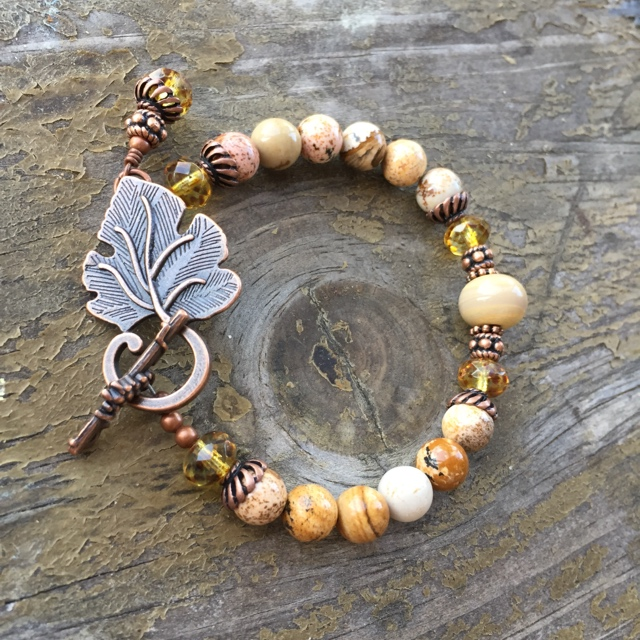 Copper Leaf Jasper Bracelet
