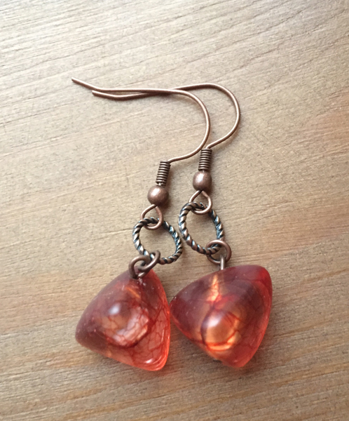 Copper Italian Art Glass Earrings
