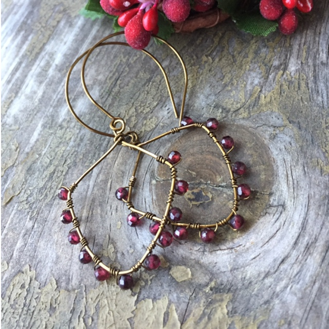 Garnet Gemstone Bronze Artisan Holiday Earrings