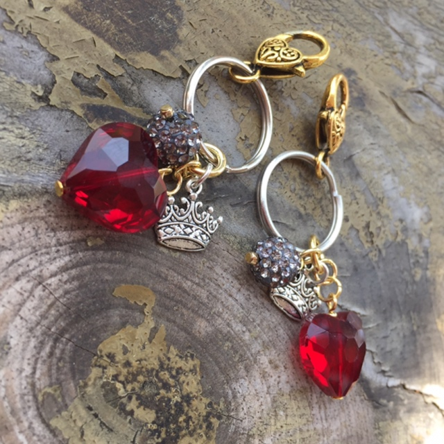 Queen for a Day - Red Heart Crystal Crown Charm Key Chain