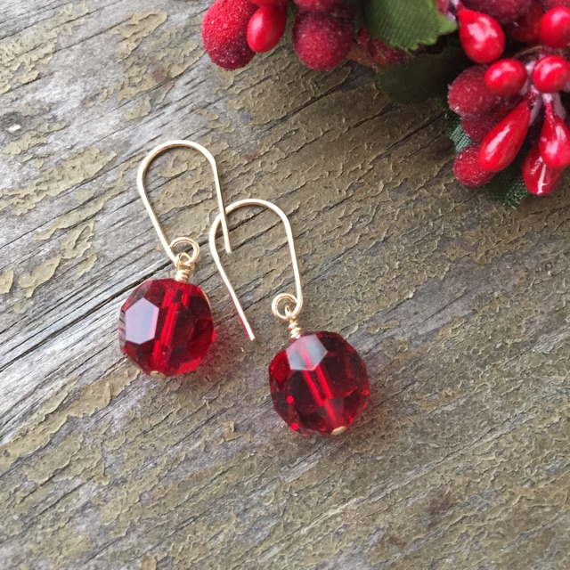 Vintage Crystal Holiday Red Earrings