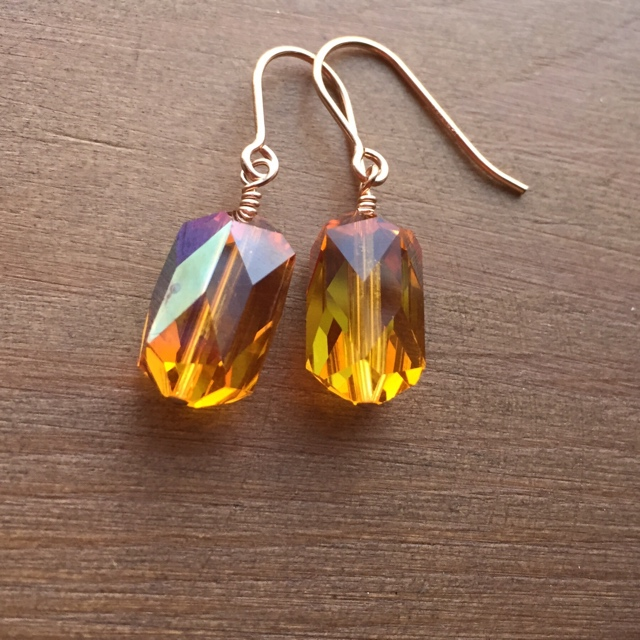 Vintage Holiday Swarovski Crystal Topaz Rose Gold Earrings
