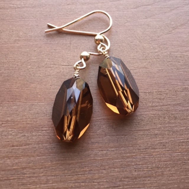Vintage Holiday Swarovski Brown Crystal Rose Gold Earrings