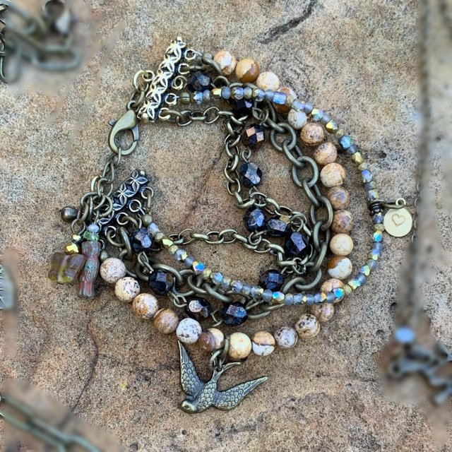 Layered Beaded Gemstone Eclectic Bracelet