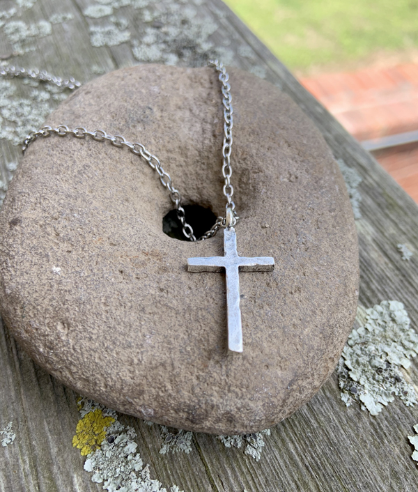 Pewter Hammered Unisex Cross Pendant Stainless Steel Necklace