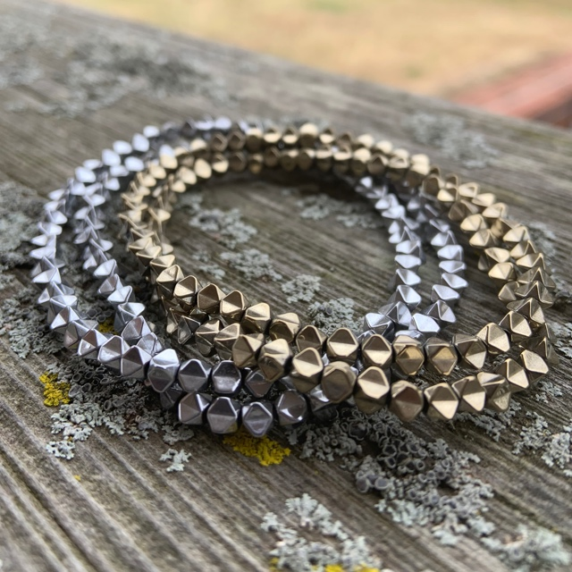 Skinny Spiked Hematite Holiday Bracelet Stackers