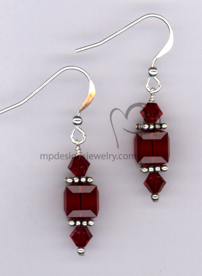 Romance Red ~ Swarovski Crystal Sterling Silver Cube  Earrings