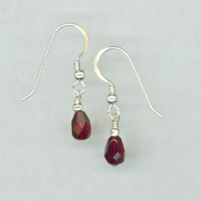Ruby Red Drop Earrings