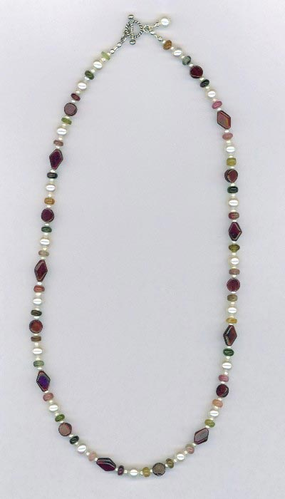 garnet pearl tourmaline necklace