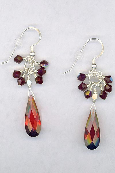 Garnet CZ Teardrop Crystal Cluster Earrings