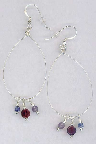 Sterling Hoop Gemstone Charm Earrings