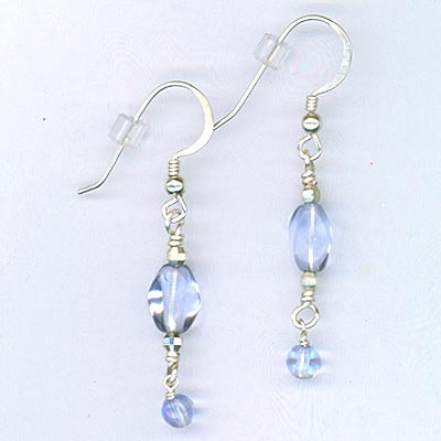 Blue Wavy Czech dangle earrings