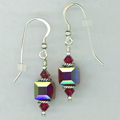 siam red cube earrings