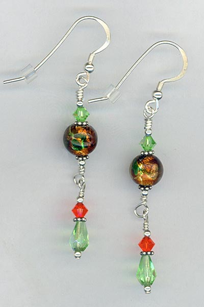 candy apple crystal earrings