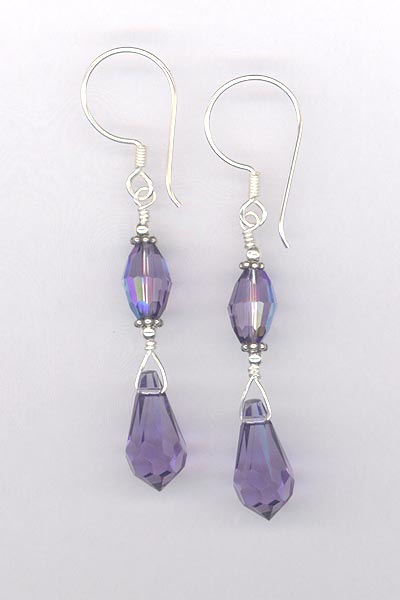 purple tanzanite crystal drop earring