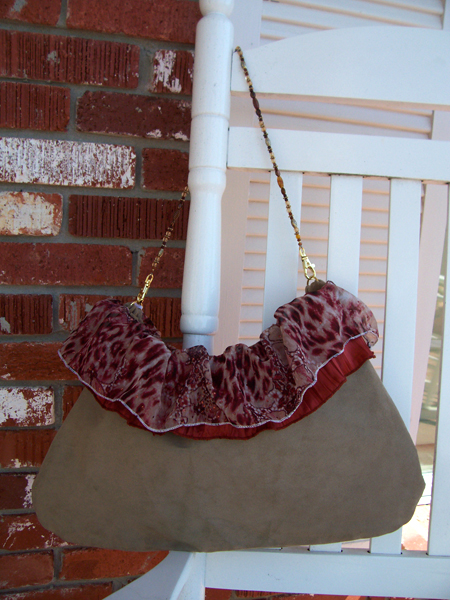 red tan ruffled handbag