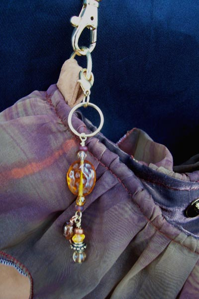 Copper Amber Purse Charm