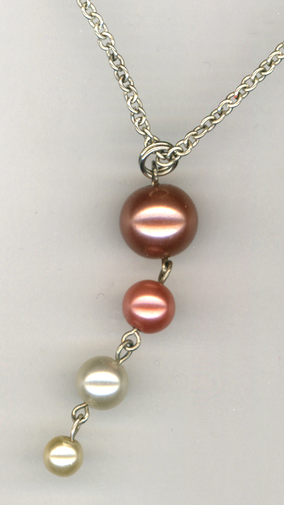 cream 4 pearl pendant sp chain necklace