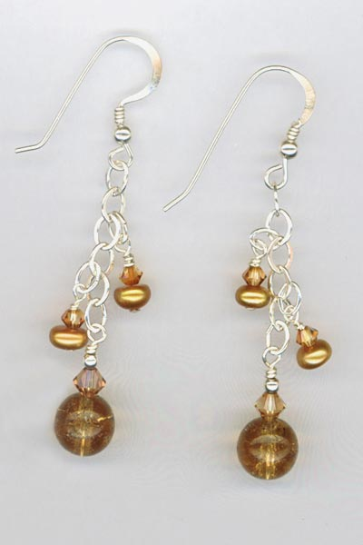 copper pearl chain dangle