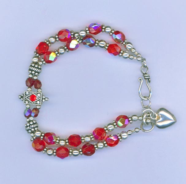 Red 2 strand  crystal bracelet