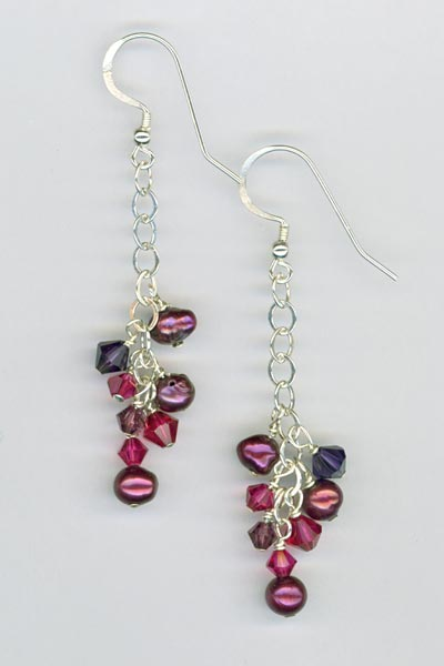 Purple Pearl crystal cluster chain earrings