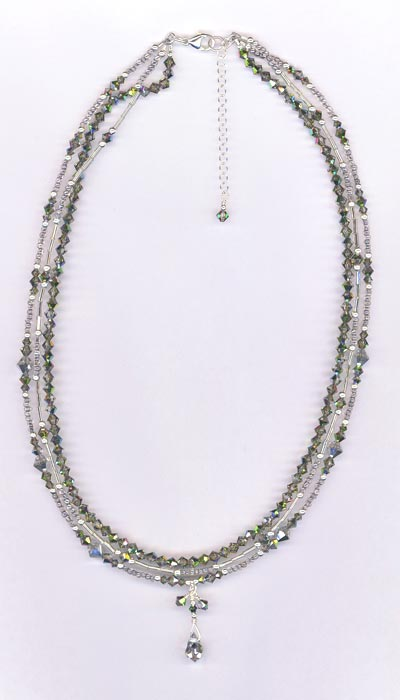 silver splendor long crystal 3 strand necklace