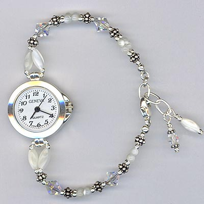 MOP silver watch