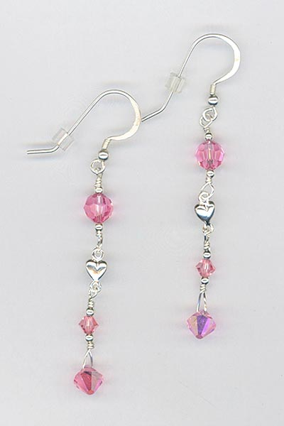 light rose ss heart earrings