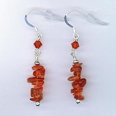 Earring Carnelian chip